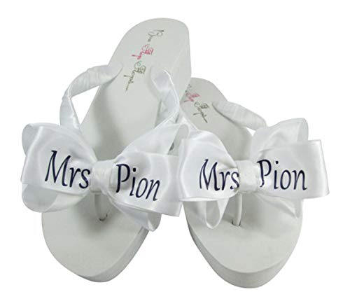 (Customized Flip Flops in your Wedding Colors - Mrs Last Name on the Bows for Reception and Dancing)