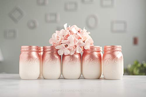 Set of 12 Ombre Rose Gold Mason Jar Vases for Wedding Centerpieces or Home Decor Organizing Storage