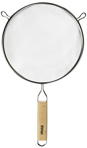 IMUSA USA IMU-71194 Stainless Steel Strainer with Wood Handle 8-Inch