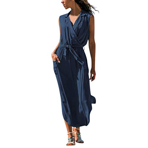 Sunhusing Ladies Solid Color Cross V-Neck Belt Waist-Tie Sleeveless Dress Large Pocket Maxi Dress Navy