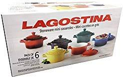 Colorful Stoneware Mini Casserole Pots With Lids - Set of Six