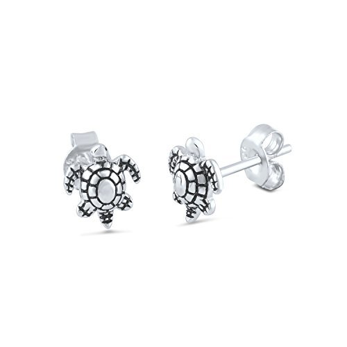 Sterling Silver Sea Turtle Stud Earrings - 8mm