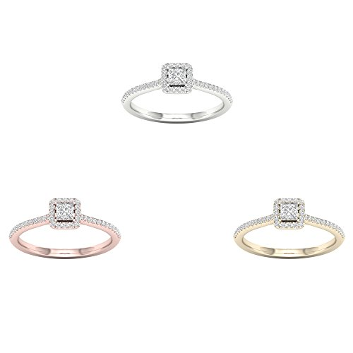 (IGI Certified 10k Yellow Gold 1/3Ct TDW Princess Diamond Halo Ring,Solitaire Engagement Ring,Bridal Ring (I-J,I2))