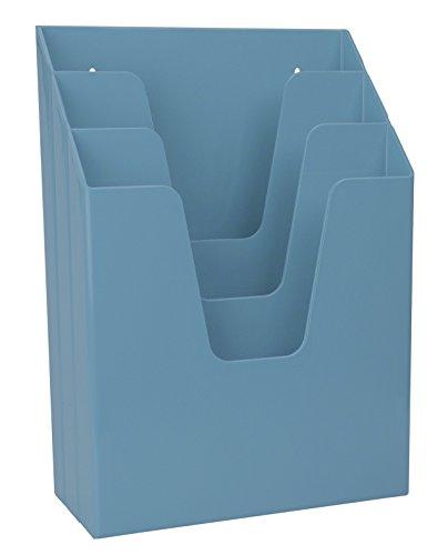 Literature Wall Pocket Portrait - Acrimet Vertical Triple File Folder Organizer (Solid Blue Color)