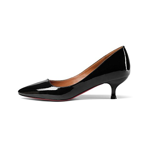 Pompe Padent Lavoro Black Scarpe A Womens EU Party Heels UK 34 Evening Leather Spillo Prom Court Wedding 2 Ufficio Kitten Shoes SYdqzaY