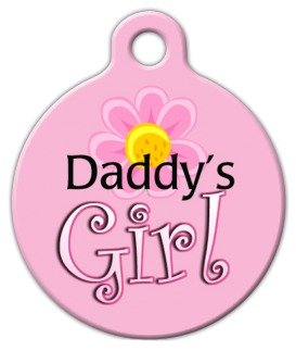 Dog Tag Art Custom Pet ID Tag for Dogs - Daddy's Girl - Large - 1.25 inch -