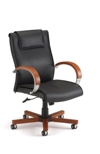 - OFM Apex Mid-Back Executive Leather Chair - Mid Back Office Chair, Cherry (561-L)