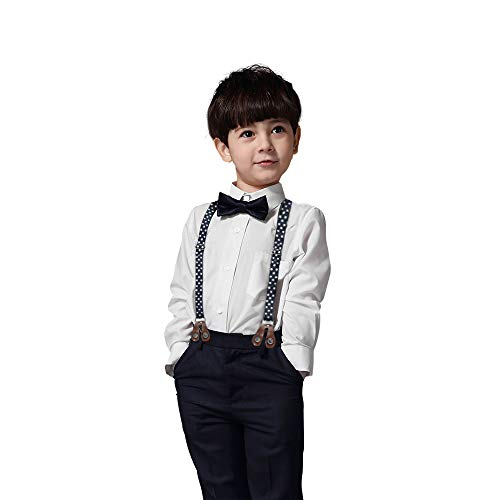 Kids Baby Boys Summer Gentleman Bowtie Shirt+Suspenders Pants Set(White 12-18Month)]()