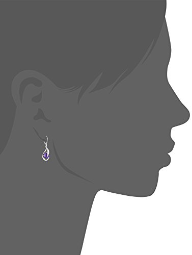 10k White Gold Amethyst and Diamond Accent Flame Drop Earrings by Amazon Collection (Image #2)