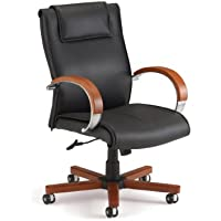 OFM Apex Mid-Back Executive Leather Chair - Mid Back Office Chair, Cherry (561-L)