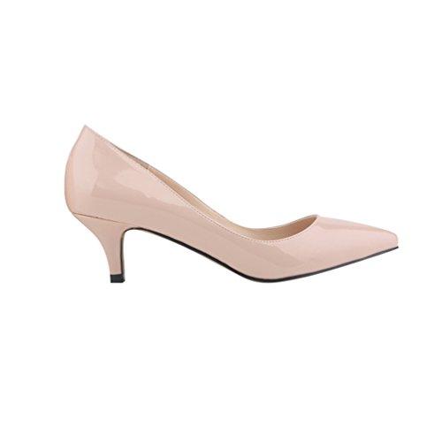 a WanYang Synthetic Heel Shoes Spillo Scarpe Tacco Tacco Donne a Ragazze Scarpe col Albicocca Elegante Punta Kitten gqSPYgr