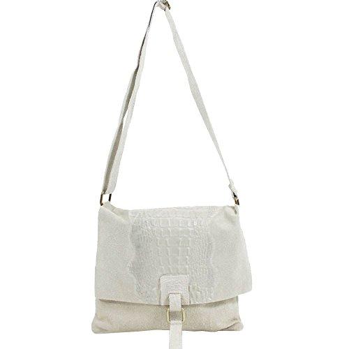 Haute for Diva Ladies Mock Croc Cross-Body Bag Beige Beige