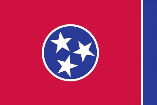 Tennessee State Duck - Valley Forge, Tennessee State Flag, Nylon, 3' x 5', 100% Made in USA, Canvas Header, Heavy-Duty Brass Grommets