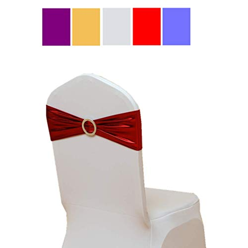 Fvstar 20pcs Chair Sashes Bows Elastic Spandex Wedding Chair Bows Decorative Elegant Party Chair Cover Sashes Ties Ribbons Bands for Events Birthday Baby Shower Banquet Decorations,Metallic Red