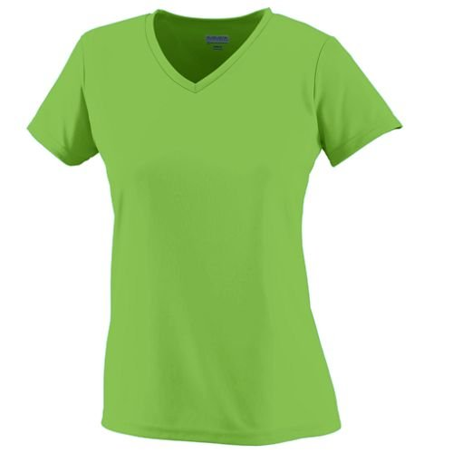 Girl's Large Lime Green Wicking Performance Moisture Management V-Neck Shirt