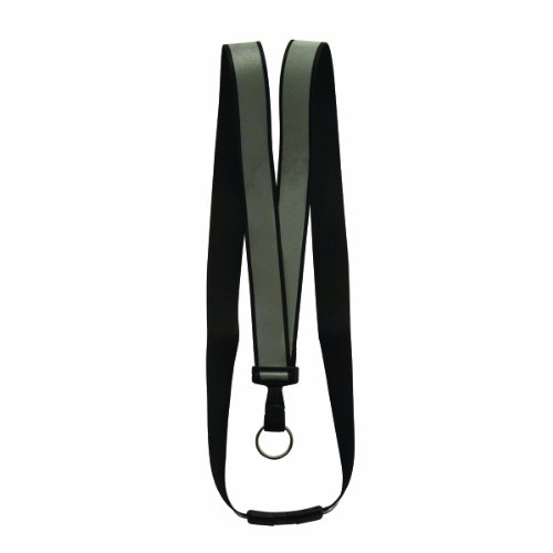 (ADVANTUS 36-Inch Recycled Reflective Plastic Breakaway Lanyard, Black/Silver, 10 Lanyards/Pack (75576))