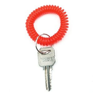 Bluecell Pack of 6 Plastic Wrist Coil Wrist band Key Ring chain for Outdoor Sport (Red) Photo #4