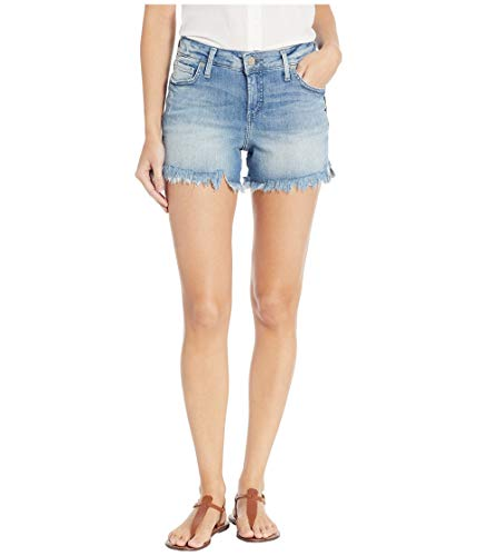 Silver Jeans Co. Women's Elyse Relaxed Fit Mid Rise Short, Light Wash, 24W x 4L