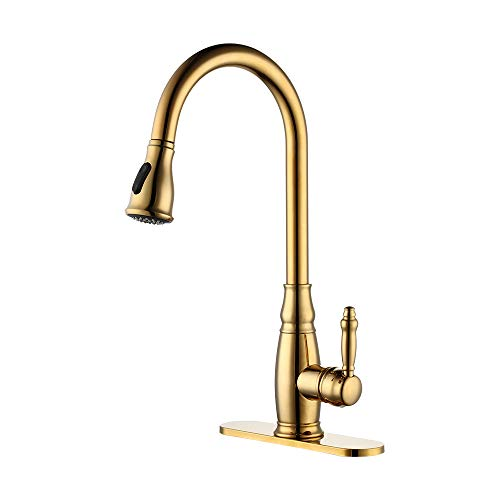 KES cUPC NSF Certified BRASS Singel Handle Pull Down Kitchen Faucet with Retractable Pull Out Wand, High Arc Swivel Spout, Titanium Gold, L6932LF-PG