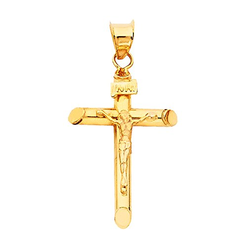 (14K Yellow Gold Jesus Engraved Cross Pendant - Crucifix Charm Polish Finish - Handmade Spiritual Symbol - Gold Stamped Fine Jewelry - Great Gift for Men & Women for Occasions, 25 x 17 mm, 1.1 GMS)