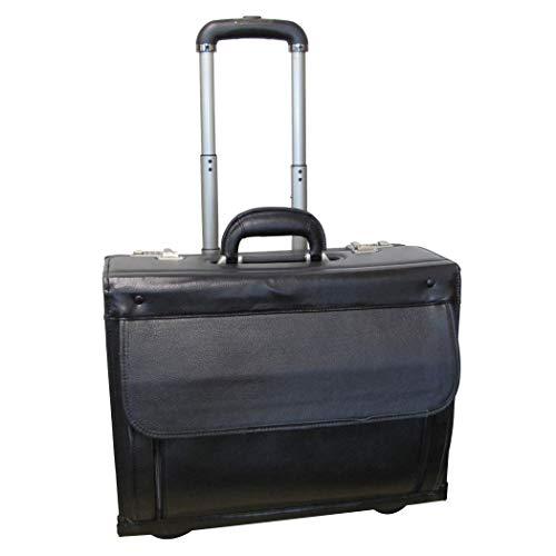 (Single Piece Black Wheeling Briefcase, Locking, Solid Pattern, Cowhide Leather Catalog Case, Inline Skate Wheels, Adjustable Handle, Removable Padded Nylon Sleeve, Interior Laptop Pocket)