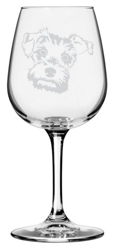 (Miniature Schnauzer Dog Themed Etched All Purpose 12.75oz Libbey Wine Glass)