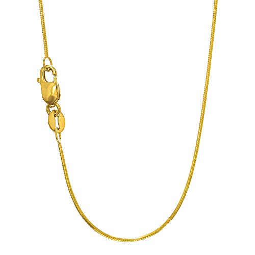 JewelStop 14k Solid Yellow Gold 0.7 mm Round Snake Chain Necklace, Lobster Claw Clasp - 16