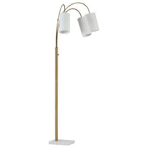 Rivet 3-Light Marble and Brass Arc Floor Lamp, With Bulbs , 79