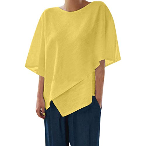 Nadition Ladies Summer Tops ✨ Women Fashion Solid Color Irregular Hem Short Sleeve Top Chic O-Neck Loose Blouse Yellow