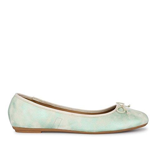 Sintético Fitters Material verde Verde mujer de Footwear Bailarinas para wqxaIB