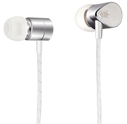 Silver Metal In-ear Headphones with Balance Armature Technology for Deep Bass and Hifi Sound Quality Noise isolating Earphones Earbuds with Mic Volume Control for iPhone Android Cable Tangle Free by MAIRDI