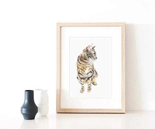 Gray Tabby Cat Watercolor Painting - Fine Art Print ()