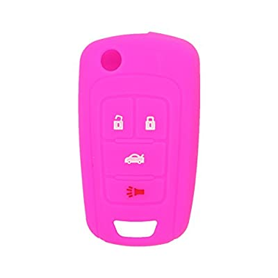 SEGADEN Silicone Cover Protector Case Skin Jacket fit for BUICK CHEVROLET 4 Button Flip Remote Key Fob CV9601 Rose: Automotive