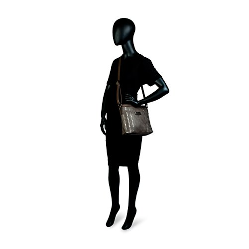 LOIS - 94444 Bolso de mujer bandolera ajustable. Bolsillo detrás con cremallera. Llavero y remaches. Piel sintética polipiel, Color Granate Taupe