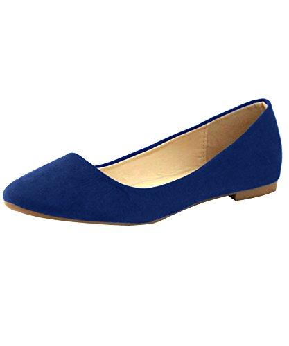 Bella Marie Stacy-12 Damen Runde Zehe Slip On Ballett Flache Schuhe Marine