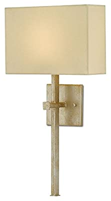 Currey and Company 5900-0004 Ashdown - One Light Wall Sconce, Silver Leaf Finish with Champagne Silk Shade
