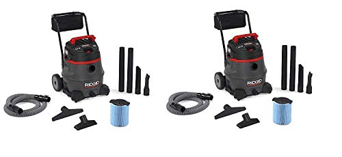RIDGID 50348 1400RV Wet Dry Vacuum with Cart, 14-Gallon Shop Vacuum with 6.0 Peak HP Motor, Casters, Pro Hose, Drain, Blower Port, Accessory Storage (Pack of 2)