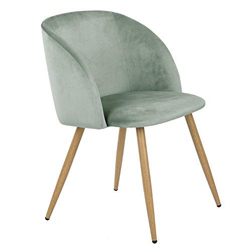 Homy Casa Accent Living Room Armchair Velvet Dining Chair Eiffel Style Side Chair with Metal Legs, Green