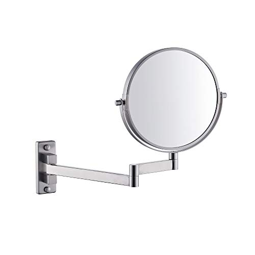 Kes SUS304 Stainless Steel Bathroom 5X Magnification Two-Sided Swivel Wall Mount Mirror 8-Inch, Brushed Finish, BWM201M5-2
