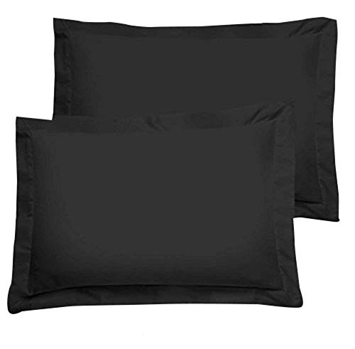 Pillow Shams Set of 2 - New 550 Thread Count Natural Cotton Euro Pillow Shams with 2 inch Border (Black, Queen 20x30)