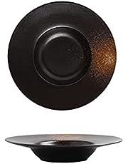 Pasta Bowls Dinner Sets, Soup Bowl Set,Porcelain Wide Rim Bowls,Pasta Bowl, 2 Pieces, Premium Porcelain,Black, Suitable for Pasta, Exquisite Dishes