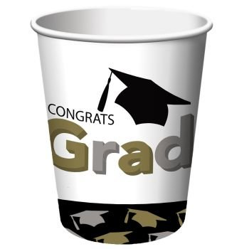 Grad Caps 9 oz Hot/Cold Paper Cups 8 Per Pack