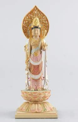 MD362極上の木彫観音菩薩 細密黄楊木彫 一刀彫 繊細彫刻 ツゲ 観世音菩薩 観音様 お土産 お守り 仏教美術 ご本尊 縁起物 コレクション。