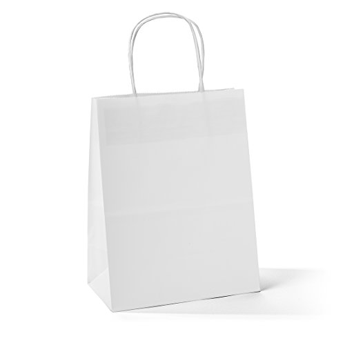 Halulu 25 Pcs 8''x4.75''x10.5'' Kraft White Paper Handle Shopping Gift Merchandise Carry Retail Bags by GSSUSA