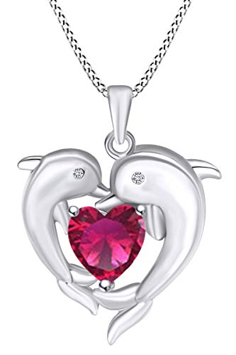 (AFFY Heart Simulated Ruby & White Cubic Zirconia Heart Frame Double Dolphin Pendant Necklace in 14k White Gold Over Sterling)