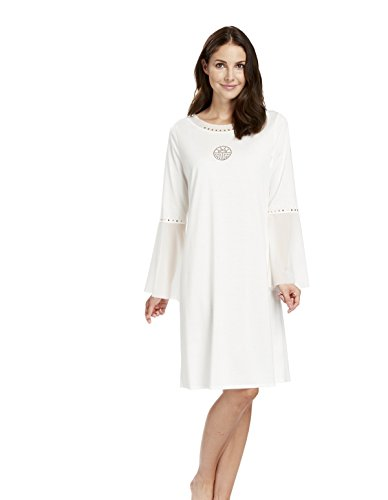 Feraud 3181104-11697 Women's White Night Ivory 100% Cotton Night Gown Loungewear Nightdress BSDnR
