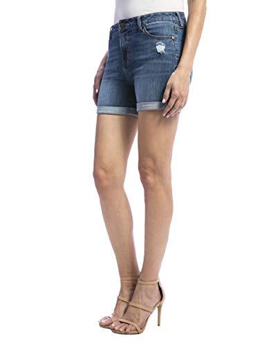 Liverpool Women's Vickie Rolled Denim Blue Short, Montauk Destruct, 8