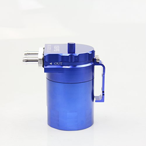 OSIAS Polish Baffled Universal Aluminum Oil Catch Can Reservoir Tank 400ml With Breather Filter BLUE by OSIAS (Image #4)