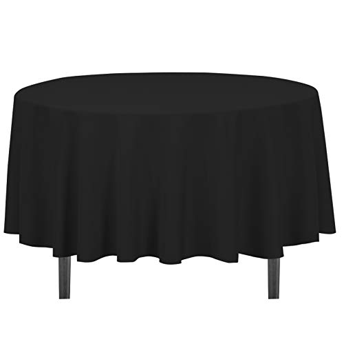 LinenTablecloth 90-Inch Round Polyester Tablecloth Black (Black Linen Tablecloth)