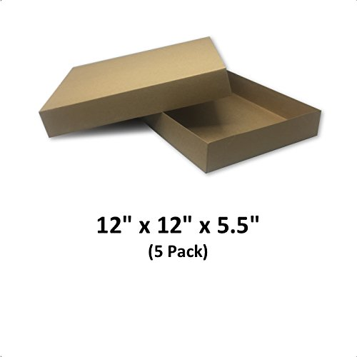 Brown Cardboard Kraft Apparel Decorative Gift Boxes with Lids for Clothing and Gifts, 12x12x5.5 (5 Pack) | MagicWater Supply by MagicWater Supply